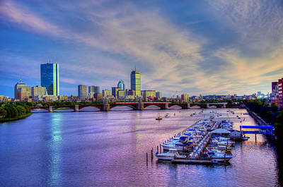 Boston Skyline Sunset Art Print