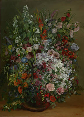 Gustave Courbet Painting - Bouquet Of Flowers In A Vase by Gustave Courbet