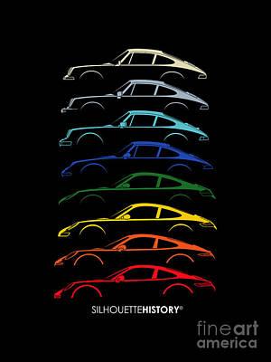 Boxer Digital Art - Boxer Sports Car Silhouettehistory by Gabor Vida