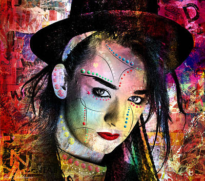 Gace Digital Art - boy George  by Mark Ashkenazi