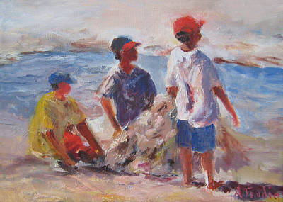 3 Boys And A Beach Print by Albert Fendig
