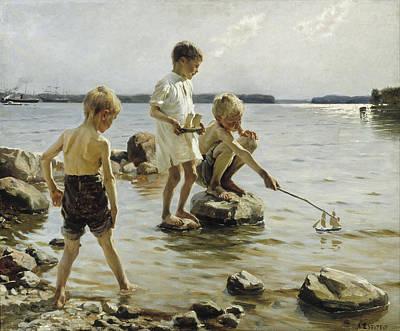 Painting - Boys Playing On The Shore by Albert Edelfelt