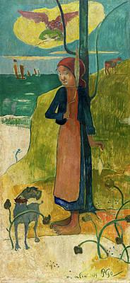 Coastline Painting - Breton Girl Spinning by Paul Gauguin