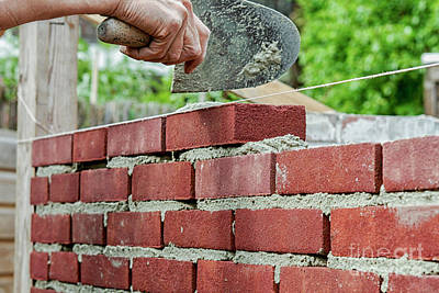 Photograph - Bricklaying by Patricia Hofmeester