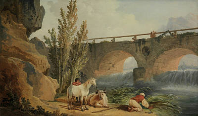 Painting - Bridge Over A Cascade by Hubert Robert