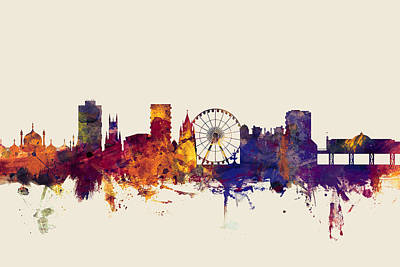 Great Britain Digital Art - Brighton England Skyline by Michael Tompsett