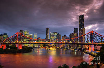 Photograph - Brisbane City Skyline After Dark by Andrew Michael