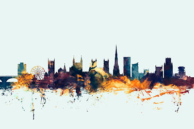 Great Britain Digital Art - Bristol England Skyline by Michael Tompsett