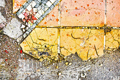Paving Photograph - Broken Tiles by Tom Gowanlock