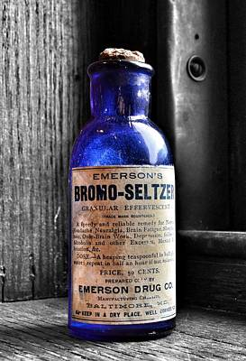 Steampunk Royalty-Free and Rights-Managed Images - Bromo Seltzer Vintage Glass Bottles Collection by Marianna Mills