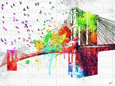 Mixed Media - Brooklyn Bridge by Daniel Janda