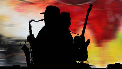 Watercolor Mixed Media - Bruce Springsteen Clarence Clemons by Marvin Blaine