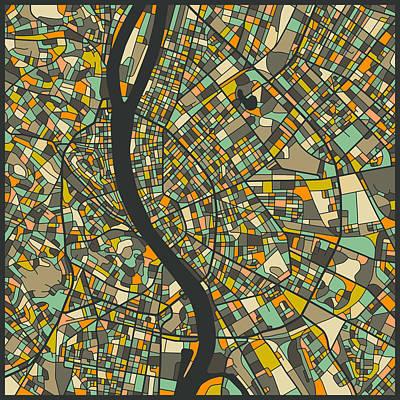 Budapest Digital Art - Budapest Map by Jazzberry Blue