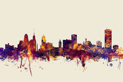 New York Digital Art - Buffalo New York Skyline by Michael Tompsett