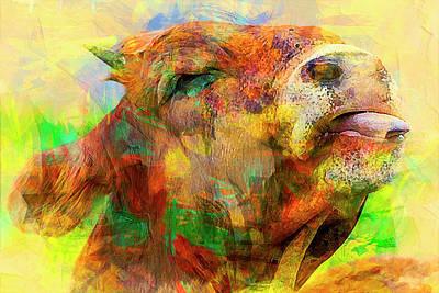 Bull Print by Elena Kosvincheva
