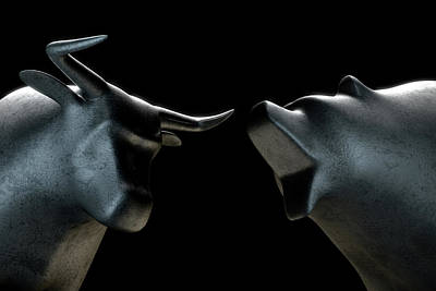 Business Digital Art - Bull Versus Bear by Allan Swart
