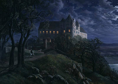 Painting - Burg Scharfenberg At Night by Ernst Ferdinand Oehme