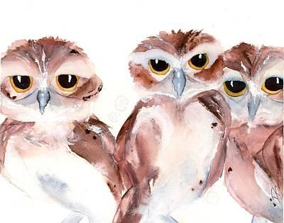 Painting - 3 Burrowing Babies by Dawn Derman