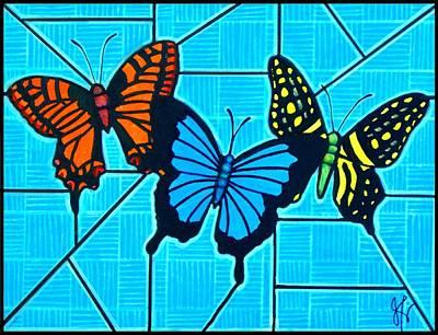 3  Butterflies On Blue Art Print by Jim Harris