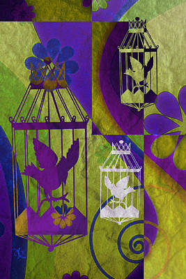 Found-objects Mixed Media - 3 Caged Birds by Angelina Vick