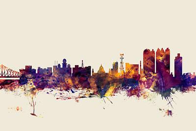 India Digital Art - Calcutta Kolkata India Skyline by Michael Tompsett