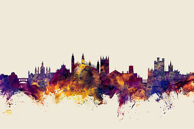 Cambridge England Skyline Art Print by Michael Tompsett