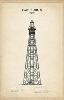 Cape Charles Lighthouse - Virginia - Blueprint Drawing Art Print