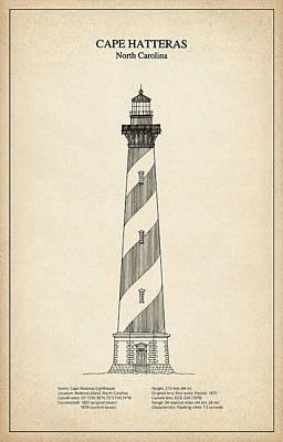 Cape Hatteras Lighthouse - North Carolina - Blueprint Drawing Art Print