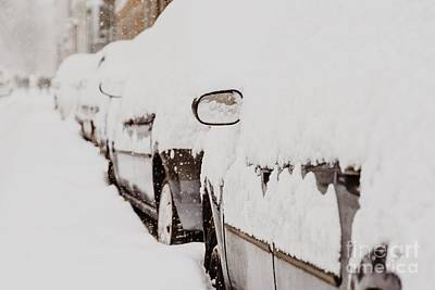 Bucharest Photograph - Cars Covered With Fresh White Snow After A Heavy Blizzard In Bucharest City by Radu Bercan