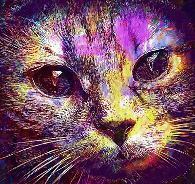 Digital Art - Cat Face Tiger Close Eyes  by PixBreak Art