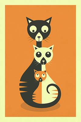3 Cats Art Print by Jazzberry Blue