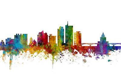 Cedar Wall Art - Digital Art - Cedar Rapids Iowa Skyline by Michael Tompsett