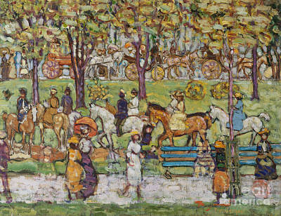 Park Benches Painting - Central Park by Maurice Brazil Prendergast