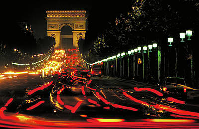 Photograph - Champs Elysee At Night by Carl Purcell