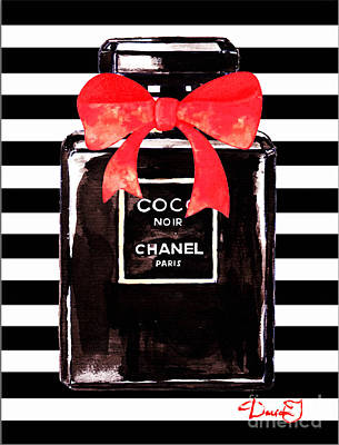 Chanel Wall Art - Painting - Chanel Noir Perfume by Del Art