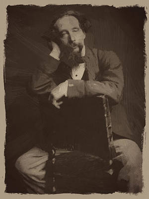 Sepia Digital Art - Charles Dickens 2 by Afterdarkness