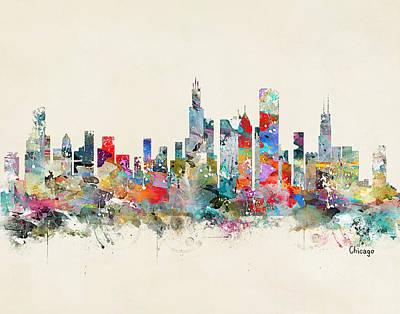 Painting - Chicago City Skyline by Bri B