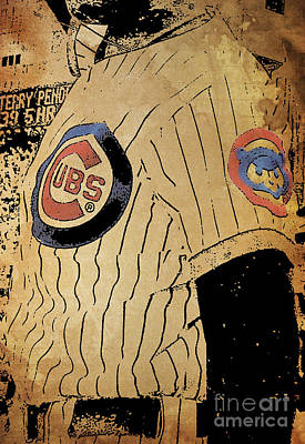 Baseball Card Painting - Chicago Cubs Baseball Team Vintage Card by Pablo Franchi