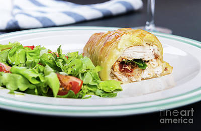 Glass Oil Dish Photograph - Chicken Breast In French Pastry With Fresh Salad by Piotr Marcinski