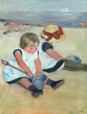 Mary Painting - Children Playing On The Beach by Mary Cassatt