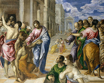 Crowds Painting - Christ Healing The Blind by El Greco