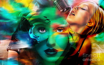 Singer Mixed Media - Christina Augilera Collection by Marvin Blaine