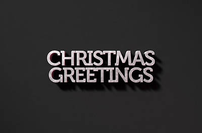 Extruded Digital Art - Christmas Greetings Text On Black by Allan Swart