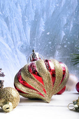 Christmas Red And Golden Ornaments Art Print by Vadim Goodwill