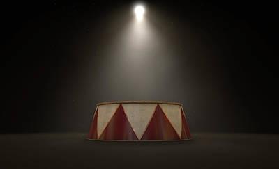 Abandoned Digital Art - Circus Podium Spotlit by Allan Swart
