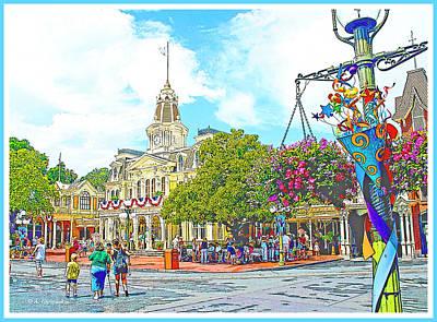 City Hall Digital Art - City Hall, Main Street Usa, Walt Disney World by A Gurmankin