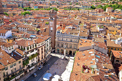 Photograph - City Of Verona Aerial View From Lamberti Tower by Brch Photography