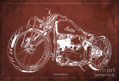 Bike Drawing - Classic Indian Motorcycle Blueprint by Pablo Franchi