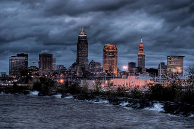 Photograph - Cleveland Skyline At Dusk From Edgewater Park by At Lands End Photography