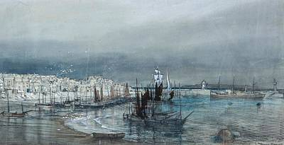 Sea Painting - Coastal View Of A Harbour by Donald Maxwell